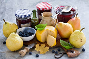 Pictures Still-life Pears Blueberries Cheese Varenye Jar