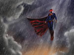 Bakgrunnsbilder Superhelter Supermann helten Regn Kappe plagg