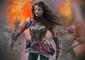 Pictures Thor Jaimie Alexander Battles Warriors Swords Shield Sif Celebrities Girls