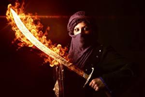 Fonds d'écran Guerrier Flamme Asiatique Bouclier Sabre Fantasy Filles