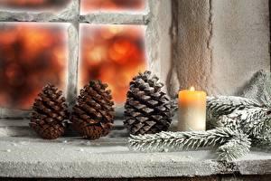 Hintergrundbilder Feiertage Neujahr Kerzen Fenster Zapfen Ast