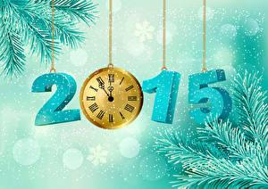 Hintergrundbilder Feiertage Neujahr Vektorgrafik Uhr 2015 Ast