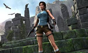 Bilder Tomb Raider Tomb Raider Legend Pistolen Lara Croft Mädchens