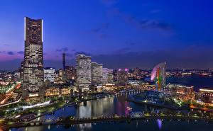 壁纸、、日本、住宅、川、メガロポリス、Yokohama、都市