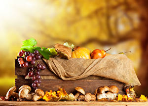 Images Autumn Mushrooms Grapes Pears