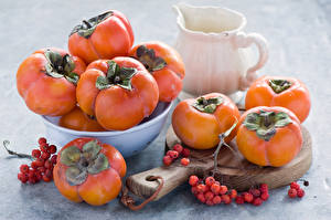 Picture Fruit Persimmon Many Food