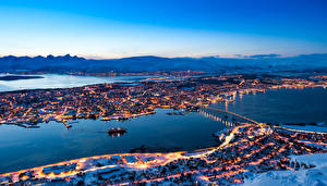 Image Norway Building River Night Tromso Cities
