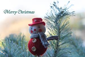 Fotos Feiertage Neujahr Spielzeuge Schneemänner Ast