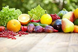 Pictures Plums Pears Pepper Orange fruit Currant Cucumbers
