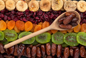 Image Fruit Kiwi Plums Apricot Dried apricot Spoon Dried fruit Food