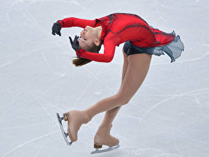 Pictures Yulia Lipnitskaya Brown haired Ice Legs Pantyhose young woman Sport