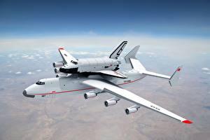 Bilder Flugzeuge Himmel Transportflugzeuge Weiß Buran Antonov An-225 Mriya