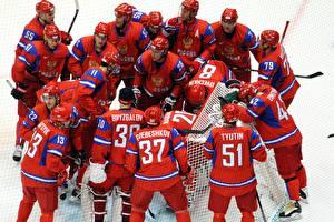 Picture Hockey Men Many Uniform Helmet Red Sport