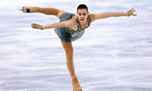 Wallpapers Brunette girl Ice Uniform Legs Pantyhose Adelina Sotnikova Sochi 2014 Girls