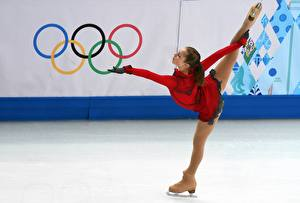 Desktop wallpapers Ice Brown haired Uniform Legs Pantyhose Sochi 2014 Julia Lipnitskaya Girls