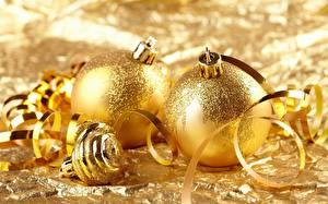 Image Holidays Christmas Closeup Balls Gold color