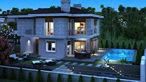 Wallpapers Building Design Swimming bath Night time Mansion 3D Graphics