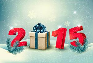 Fotos Feiertage Neujahr 2015 Geschenke Ast Schneeflocken