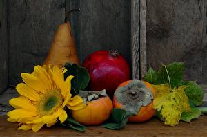 Photo Sunflowers Persimmon Pomegranate Pears Flowers