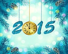 Fotos Feiertage Neujahr Uhr 2015 Ast Zapfen