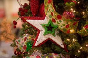 Fotos Feiertage Neujahr Ast Christbaum Band