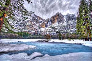 Hintergrundbilder Vereinigte Staaten Park Jahreszeiten Winter Gebirge See Yosemite HDR Natur