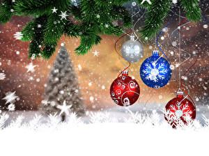 Hintergrundbilder Feiertage Neujahr Ast Tannenbaum Kugeln Schneeflocken