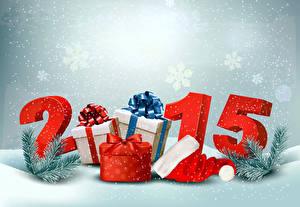 Fotos Neujahr Feiertage 2015 Ast Geschenke Mütze Schneeflocken