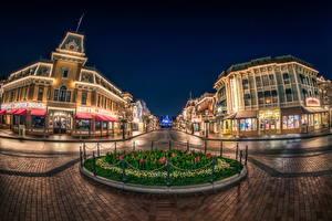 Fotos Vereinigte Staaten Disneyland Park Haus Kalifornien Anaheim Design HDRI Straße Nacht Städte