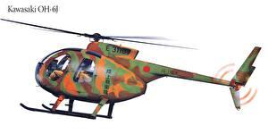 Fotos Hubschrauber Gezeichnet Kawasaki OH-6J Luftfahrt