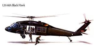 Fotos Hubschrauber Gezeichnet UH-60A Black Hawk Luftfahrt