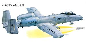 Bilder Flugzeuge Gezeichnet A-10 Thunderbolt II Erdkampfflugzeug Luftfahrt