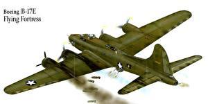 Fotos Flugzeuge Gezeichnet Bomber Boeing Boeing B-17E Flying Fortress