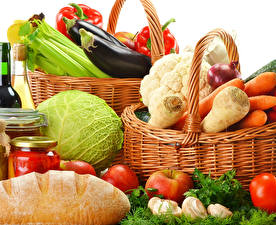 Wallpaper Vegetables Bread Cabbage Carrots Bell pepper Apples Wicker basket Food