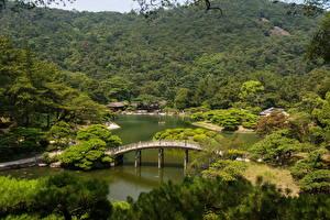 壁纸、、風景写真、日本、ガーデン、川、橋、木、Takamatsu Ritsurin garden、自然