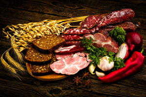 Fotos Fleischwaren Wurst Schinken Brot Peperone Knoblauch Ähre Lebensmittel