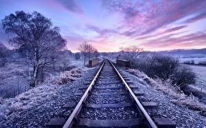 Photo Sunrises and sunsets Railroads Sky Trees Rails Nature