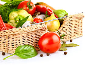 Wallpaper Vegetables Tomatoes Bell pepper Wicker basket Food