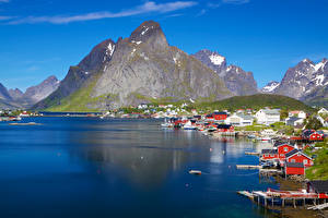 Picture Norway Houses Mountains Lake Lofoten Cities Nature