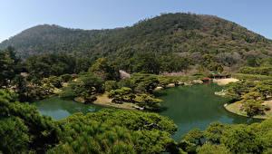 壁纸、、風景写真、日本、ガーデン、池、Takamatsu Ritsurin garden、自然