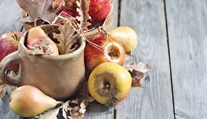 Photo Apples Pears Leaf Food