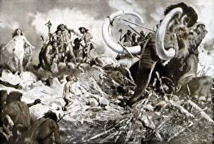 Hintergrundbilder Malerei Zdenek Burian Mammute Mammoth trap