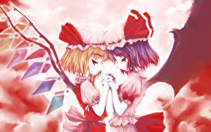 Photo Touhou Collection Two Wings Winter hat flandre scarlet, remilia scarlet Anime Girls