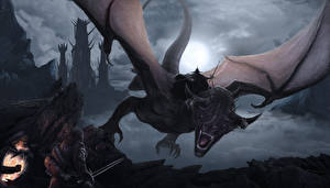 Bakgrunnsbilder Ringenes herre Drager Kriger Bokillustrasjoner Sverd  Fantasy