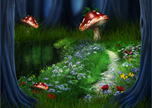 Bilder Illustrationen für Bücher Pilze Natur Gras Weg Fantasy