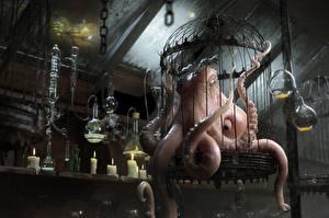 Hintergrundbilder Kerzen Ungeheuer Kraken Evil Octopus Fantasy