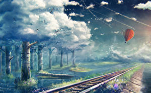 Wallpapers Fantastic world Railroads Sky Clouds Aerostat Trees Fantasy Nature