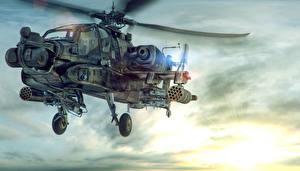 Hintergrundbilder Hubschrauber Gezeichnet AH-64 Apache Longbow 3D-Grafik