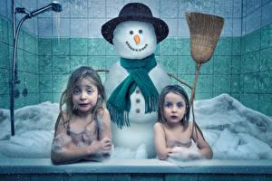 Picture Little girls 2 Bathroom Snowmen Spring preparation funny