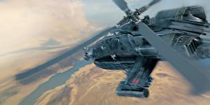 Fotos Hubschrauber Gezeichnet AH-64 Apache Luftfahrt 3D-Grafik